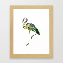 Yellow Flamingo Illustration Framed Art Print