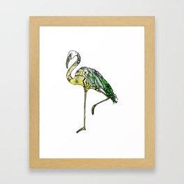 Yellow Flamingo Illustration Framed Art Print