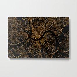 Cincinnati map, Ohio Metal Print