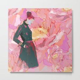 Trench with Pastel Peonies Metal Print