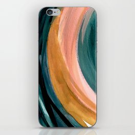 Breathe: a vibrant bold abstract piece in greens, ochre, and pink iPhone Skin