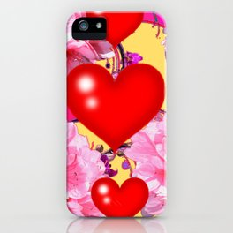 Red Hearts Art & Pink Floral Purple Patterns iPhone Case