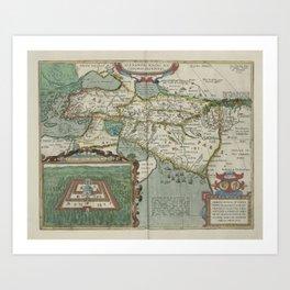 Vintage Map - Ortelius: Theatrum Orbis Terrarum (1606) - Journeys of Alexander the Great Art Print