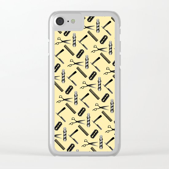Barber Shop Pattern Clear iPhone Case