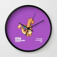 charizard Wall Clocks featuring 006 Charizard by Fightstacy