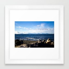 golden gardens view across the puget sound Framed Art Print