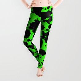 Bright Green and Black Leopard Style Paint Splash Funny Pattern Leggings