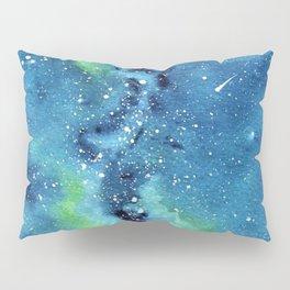"""Riverside Galaxy"" watercolor landscape painting Pillow Sham"