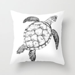 Sea Turtle - Pen and Ink Illustration Throw Pillow