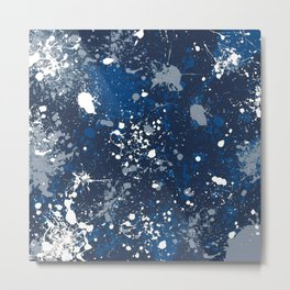 Blue Splatter Pattern Metal Print