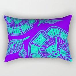 Aqua Poppies on purple blue Rectangular Pillow