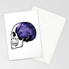 Galaxy Watercolor Skull Stationery Cards