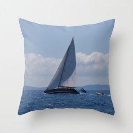 Modern Racing Yacht Throw Pillow