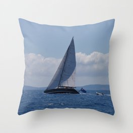 Modern Racing Yacht Throw Pillow