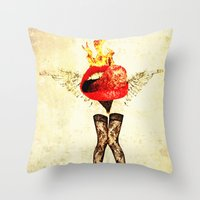 lips Throw Pillows featuring Lips by Alec Goss