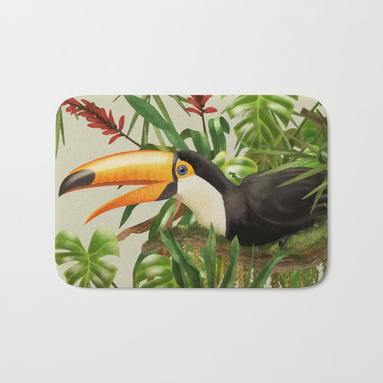 Toco Toucan vintage illustration. Bath Mat