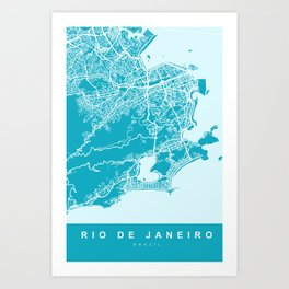 Rio de Janeiro Brazil Map | Blue & Cyan | More Colors, Review My Collections Art Print