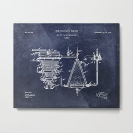 Process of Brewing Beer patent Metal Print