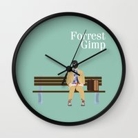 forrest gump Wall Clocks featuring FORREST GIMP by Ian O'Hanlon