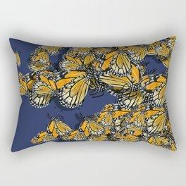 Butterfly Frenzy Spring Navy Rectangular Pillow