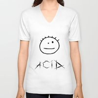 acid V-neck T-shirts featuring Acid by Komrod