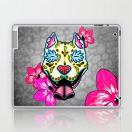 Slobbering Pit Bull - Day of the Dead Sugar Skull Pitbull Laptop & iPad Skin