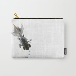 Black Fish, feng shui zen brush minimalist ink art design Carry-All Pouch