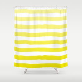 Sun Yellow Handdrawn horizontal Beach Stripes - Mix and Match with Simplicity of Life Shower Curtain