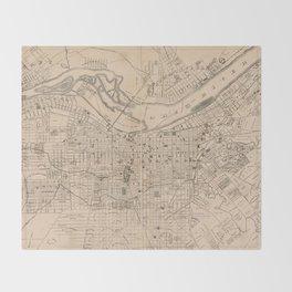 Vintage Map of Louisville Kentucky (1873) Throw Blanket