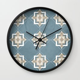 Teal and Taupe Mosaic Pattern Wall Clock