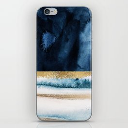 Navy Blue, Gold And White Abstract Watercolor Art iPhone Skin