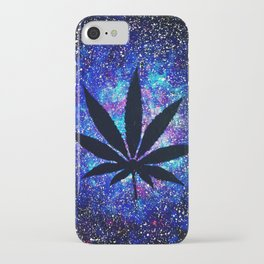 Galaxy Weed Leaf - Purple iPhone Case