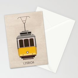 Travel poster of Lisbon tram in Portugal Stationery Cards