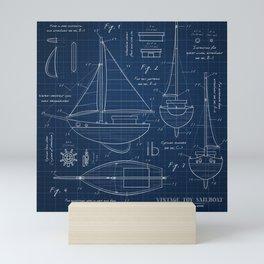 Toy Sailboat Blueprint Mini Art Print