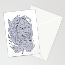 Hannya Mask and Koi Fish Drawing Stationery Cards
