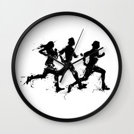 Runners in ink Wall Clock