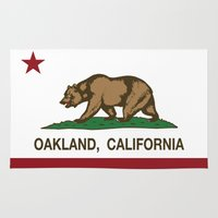 oakland Area & Throw Rugs featuring Oakland California Republic Flag by NorCal