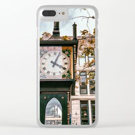 Photograph of Vancouver's Steam Clock in Gastown, BC on a Bright Day Clear iPhone Case