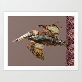 Brown Pelican Flight with Vintage Burgundy Stripe Art Print