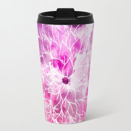 Modern bright pink hand painted watercolor floral Travel Mug
