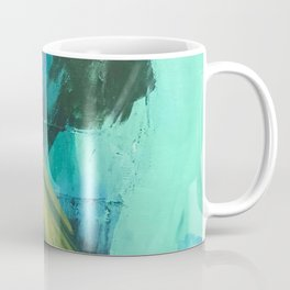 Align: a bold, abstract minimal piece in blues and greens Coffee Mug