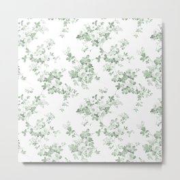 Elegant vintage green white roses shabby floral Metal Print