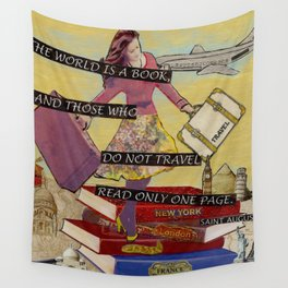 Travel The World Through Books Wall Tapestry