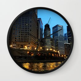 Chicago River and Buildings at Dusk Color Photo Wall Clock