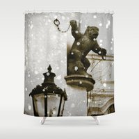 prague Shower Curtains featuring Prague  Gargoyle by Bella Blue Photography