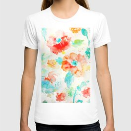 Watercolor Abstract Floral Pattern Red Orange Blue T-shirt