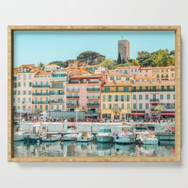Cannes City Print, Luxurious Yachts And Boats, French Riviera, Travel Print, City Marina Port In France Poster, Colored Houses Photography, Colorful Home, Home Decor, Wall Art Print Serving Tray
