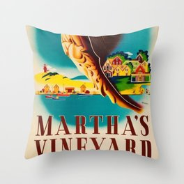 Martha's Vineyard Island Travel Advertising Poster Throw Pillow