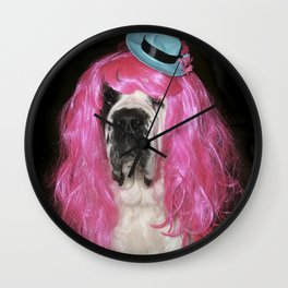 Funny St Bernard dog clowning around Wall Clock