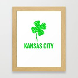 Kansas City Irish, St Patricks Day, Four Leaf Clover Framed Art Print